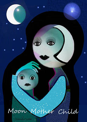 Painting - 433 - Moonmotherchild by Irmgard Schoendorf Welch