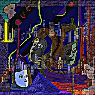 Digital Art - 435 - People In The City   by Irmgard Schoendorf Welch