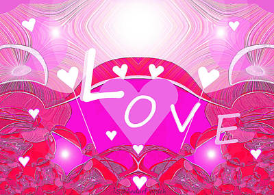 Valentines Day Digital Art - 436 - Pink Love Hearts ... by Irmgard Schoendorf Welch