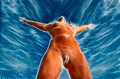 Photograph - 4390 Fractal Nude Woman With Sky by Chris Maher