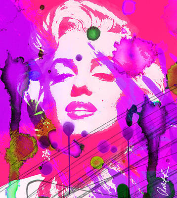 43x48 Marilyn Pretty In Pink - Huge Signed Art Abstract Paintings Modern Www.splashyartist.com Art Print by Robert R Splashy Art Abstract Paintings