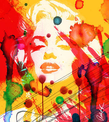 43x48 Who Shot Marilyn - Huge Signed Art Abstract Paintings Modern Www.splashyartist.com Art Print by Robert R Splashy Art Abstract Paintings