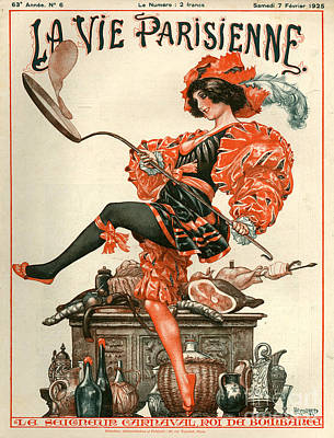 Vintage Drawing - 1920s France La Vie Parisienne Magazine by The Advertising Archives
