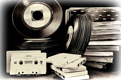 Photograph - 45 Records And Cassette Tapes by Athena Mckinzie
