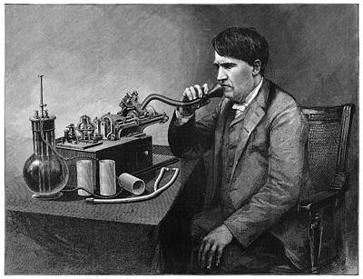 Cylinders Drawing - Thomas Edison (1847-1931) by Granger