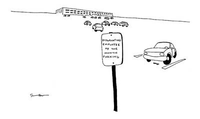 Parking Drawing - New Yorker July 10th, 2000 by Michael Shaw