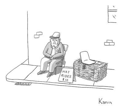 Hay Ride Drawing - New Yorker March 9th, 2009 by Zachary Kanin