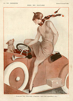 Vintage Car Drawing - 1920s France La Vie Parisienne Magazine by The Advertising Archives