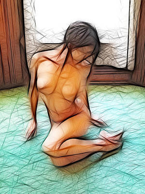 Photograph - 4534 Nude Sitting By Window On Green Floor  by Chris Maher
