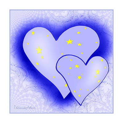 Painting - 457 - Two Hearts Blue by Irmgard Schoendorf Welch