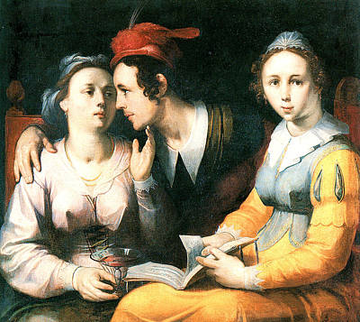 Painting - A Courting Couple by Cornelis Corneliszoon van Haarlem