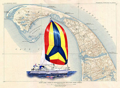Cape Cod Painting - 39 Beneteau Cape Cod Chart Art by Jack Pumphrey