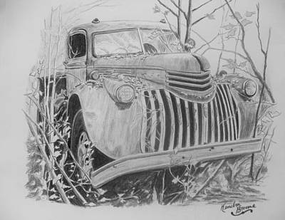 Chevrolet Truck Drawing - 46 Chevy Treasure by Kendra DeBerry