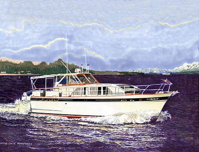 Classic Marine Art Painting - 46 Foot 1965 Classic Chris Craft Terific by Jack Pumphrey