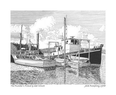 Plumber Drawing - 46 Foot Stephans Yacht And Tugboat by Jack Pumphrey