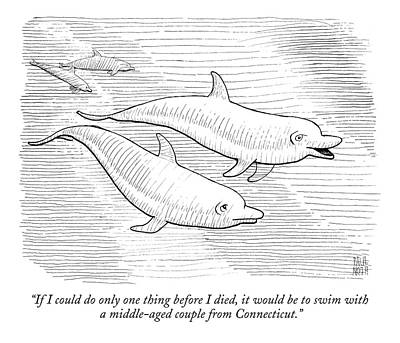 Dolphins Drawing - If I Could Do Only One Thing Before I Died by Paul Noth