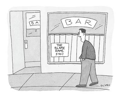 Happy Hour Wall Art - Drawing - New Yorker October 24th, 2005 by Peter C. Vey