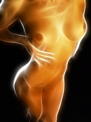 Photograph - 4632 Glowing Fractal Nude Woman by Chris Maher