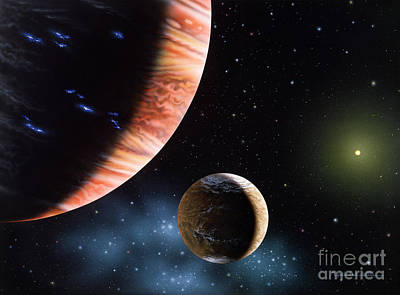 Planets Painting - 47 Ursae Majoris B And Moon by Lynette Cook