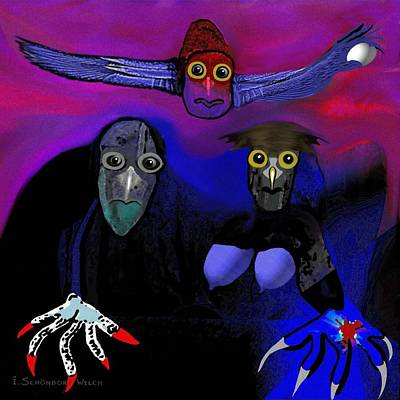 Digital Art - 476 -   Owl Family by Irmgard Schoendorf Welch