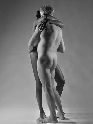 Photograph - 4798 Black And White Nude Couple by Chris Maher