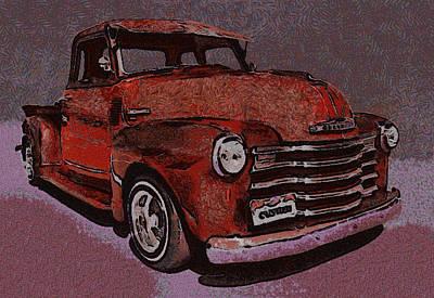 Truck Digital Art - 48 Chevy Truck Red by Ernie Echols
