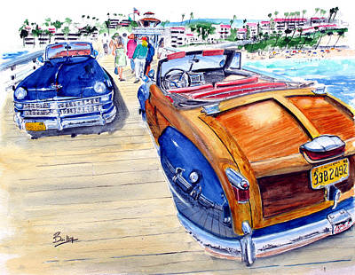San Clemente Painting - 48 Chrysler Town  Country On The Pier by Rob Beilby