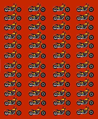 48 Harlies On Dark Red Art Print by Asbjorn Lonvig