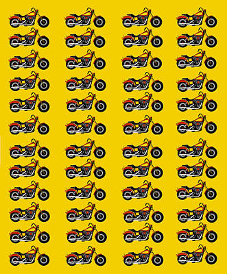 48 Harlies On Dark Yellow Print by Asbjorn Lonvig