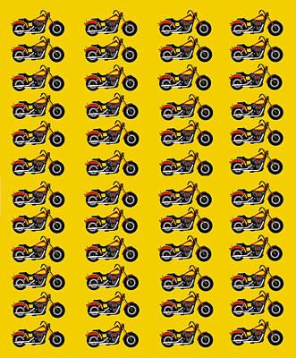48 Harlies On Dark Yellow Art Print by Asbjorn Lonvig