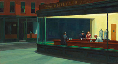 Horizontal Drawing - Nighthawks by Edward Hopper
