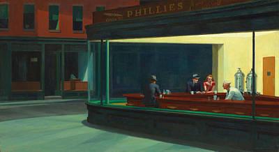 Impressionism Drawings - Nighthawks by Edward Hopper