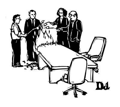 Boardroom Drawing - New Yorker July 28th, 2008 by Drew Dernavich