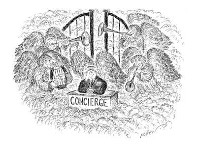 Heaven Drawing - New Yorker April 3rd, 2000 by Edward Koren