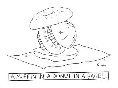 Donuts Drawing - New Yorker December 18th, 2006 by Zachary Kanin