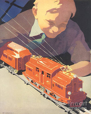 Transportation Drawings - Vintage Christmas illustration by Indian Summer