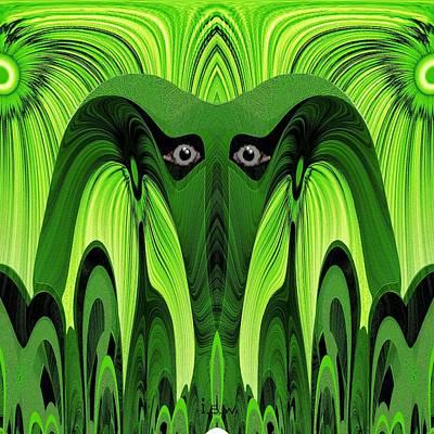 0rnamental Digital Art - 482 - Green Ghost Of The Woods by Irmgard Schoendorf Welch