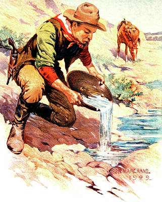 Gold Pan Painting - 49er Gold Rush Prospector Panning by Vintage Images