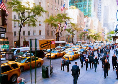 Photograph - New York City 49th And Fifth Colored Pencil by Rospotte Photography