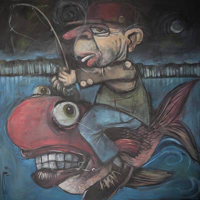 Humor Painting - 4am Fish Jockey by Tim Nyberg