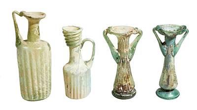 4th Century Glass Juglets And Bottles Art Print