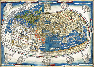 Cartography Painting - 4th Edition Of Ptolemy's Cosmographia  By Leinhart Holle - 1482 by Pablo Romero