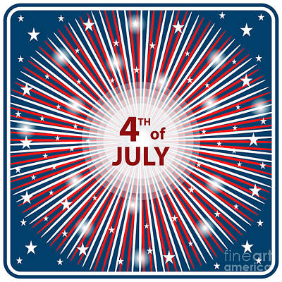 Election Day Digital Art - 4th July Independence Day Starburst by Toots Hallam