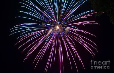 4th Of July 2014 Fireworks Bridgeport Hill Clarksburg Wv 1 Art Print by Howard Tenke