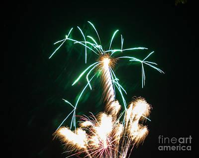 4th Of July 2014 Fireworks Bridgeport Hill Clarksburg Wv 2 Art Print by Howard Tenke