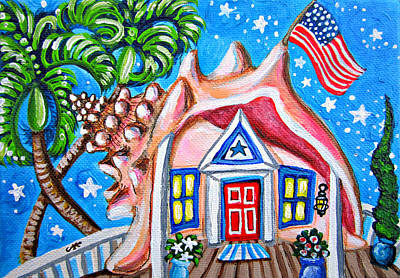 4th Of July Conch House Original by Abigail White