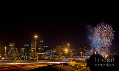 4th Of July 2013 Photograph - 4th Of July Fireworks Over Denver Skyline by Bridget Calip