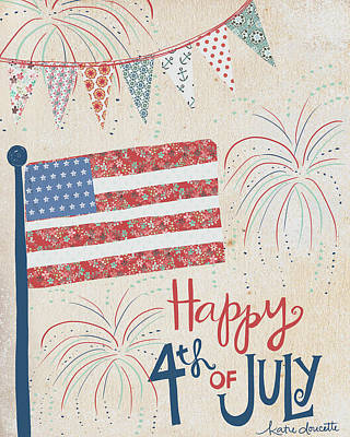 Fireworks Painting - 4th Of July by Katie Doucette