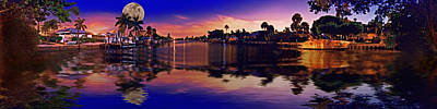 Photograph - 4x1 Holmes Beach Canal Moon Night by Rolf Bertram