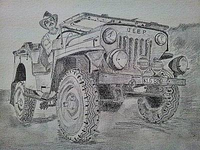 Jeep Drawing - 4x4 Hurricane by Vidya Vivek